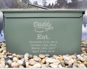 Daddy Ammo Can, Ammo Box, Ammo Can, Personalized Ammo Box, Personalized Ammo Can, Fathers Day Gift, Christmas Gift, Gift for Him, 50 Cal