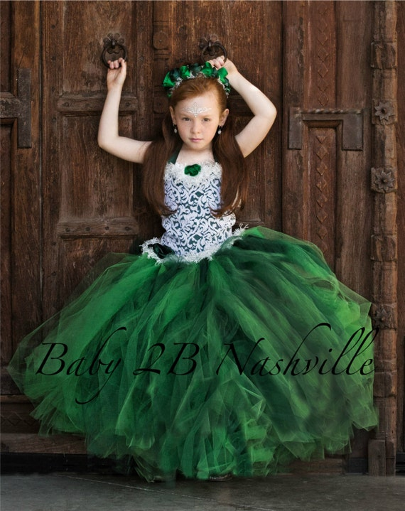 Emerald Green Dress Princess Dress Flower Girl Dress Wedding