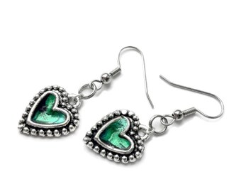 Silver Heart Earrings, Emerald Green, Gift for Girlfriend, Punk Rock Jewlery, Black and Silver Dangle Earrings