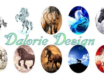 40x30 mm, Horses, Planche d'Images Digital - Chevaux - pour cabochons