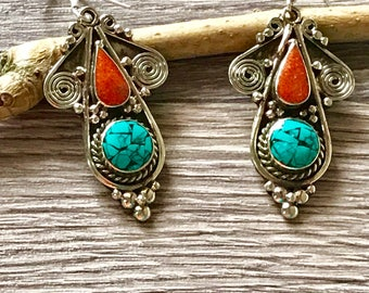 turquoise earrings,Tibetan Earrings - coral Earrings - boho turquoise Earrings -  Tibetan jewelry -turquoise Jewelry,