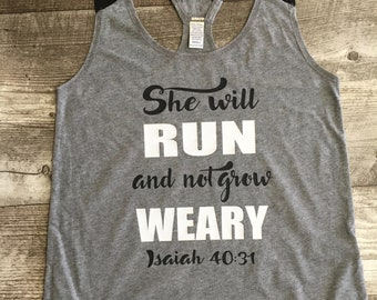 Juniors Religious Spiritual Verse Tank Top Workout Running She will run and not grow weary Isaiah 40:31  Womens TSLM