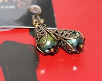 Dark Green Crystal Drops in Antique Gold Filigree Earrings