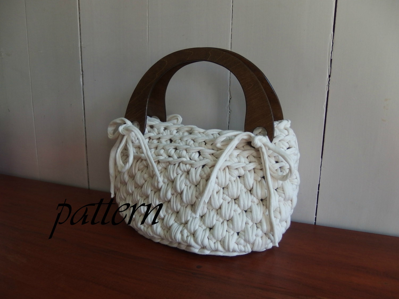 Digital crochet pattern t shirt yarn handbag/ Zpagetti bag pattern ...