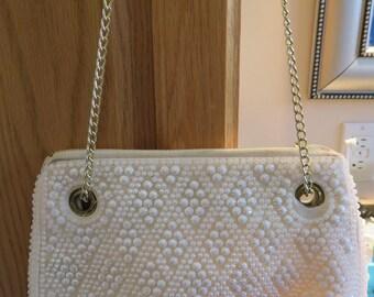 """WEDDING / Evening Bag, IVORY BEAD, Shoulder/Hand Chain, Vintage, 8.5"""" Long, 7.5"""" Depth (#23J)"""
