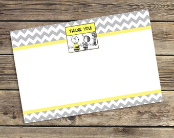 Printable Chevron Peanuts / Charlie Brown Birthday party PDF Thank You Card