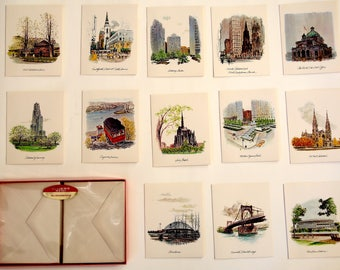 Vintage Set of 13 Pittsburgh Scene Notecards with Envelopes