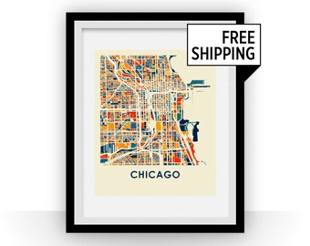 Chicago Map Print - Full Color Map Poster