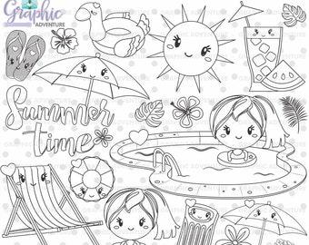 75%OFF- Summer Stamps, Digital Stamp, Pool Stamps, COMMERCIAL USE, Swimming Pool Stamps, Digi Stamp, Digital Image, Summer Party Stamps