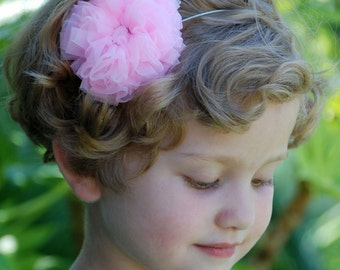 Fluffy Chiffon Rosette Hair Clip or Band by Chic Baby Rose 21 Color Choices