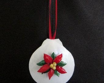 White Sun and Moon Seashell Christmas Ornament