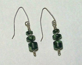 Light Green and Black Jasper Dangle Earrings with Unique Silver Filled Ear Wires by Carol Wilson of Je t'adorn