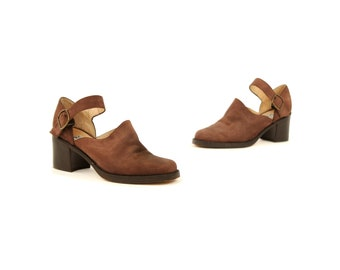 Vintage 1990's Nine West Brown Leather Block Heel Shoes Top Strap Buckle Grunge Mules 8 Euro 39