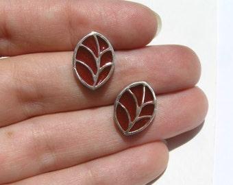 Red Leaf Stud Earrings - Sterling Silver and Resin