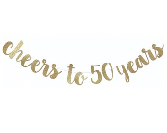 50th Birthday Party Decorations | 50th Birthday Banner | Cheers to 50 Years Banner | 50 and Fabulous | 50 Birthday | Fifty Birthday Decor