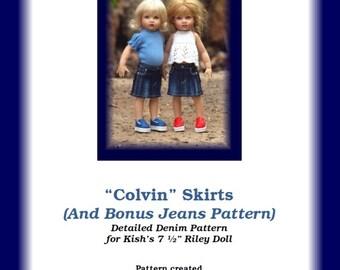 "Colvin Jeans & Skirts-R--PDF Pattern for Helen Kish's 7 1/2"" Riley"
