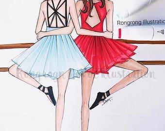 Ballet BFF Fashion illustration, Best friends art, Fashion illustration,Fashion print,fashion poster, Titled,Ballet Besties
