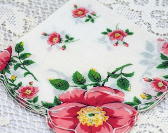 Vintage Hankie Peach and White Floral  #A-23