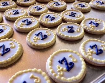 Monogram Round Sugar Cookies, Decorated, Cookie Party Favors, Monogrammed, Wedding Shower, Initials, Birthday, Engagement, 1 DOZEN