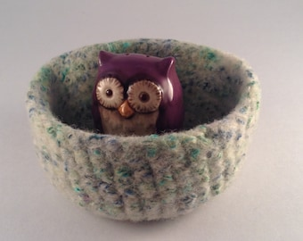 felted wool bowl, felted container, desktop storage, office decor, blue green grey cream colored wool bowl