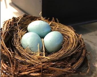 Faux Fake Bird Nest with Eggs . Spring Decor . Wedding Decor . Floral Craft Nest . Wedding Supplies . Centerpiece . Floral Arrangements