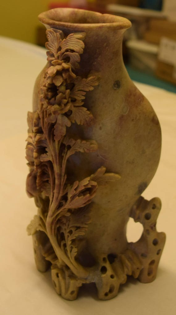 Antique chinese soapstone carved vase with flowers and