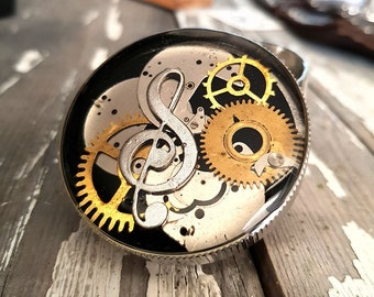 Steampunk Violin Clef Key Spice Crusher - Tobacco Fine Herbs and Weed grinder -