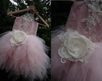ZORA Powder Pink Tulle Ecru Lace Tulle Flower Girl Dress Vintage Dress Wedding Bridesmaid Dress