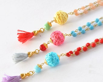 Tassel Beaded Necklace,  Multi Colors Necklace,  Colorful Necklace,  Bohemian Tassel Necklace
