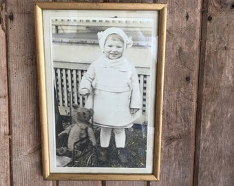 Vintage Child an Bear Picture With Original Frame 1930's