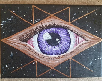 Psychic Eye original painting on canvas in acrylic - spiritual and cosmic art