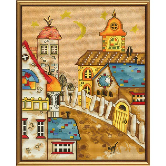 Cross Stitch Kit Town From Fairy Tale