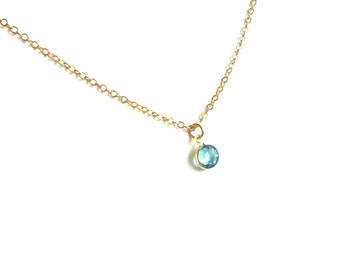Aquamarine Crystal Necklace, Tiny Crystal Necklace, Thin Gold Necklace, Simple Crystal Necklace, Delicate Gold Necklace, Tiny Gold Necklace