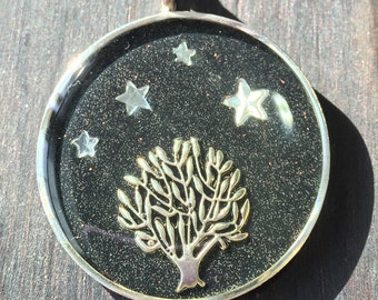 Trees Under the Stars Resin Necklace