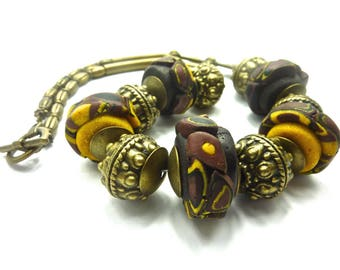 Ethnic necklace large beads African style and ornate bronze beads