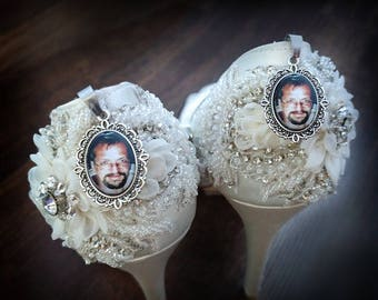 Wedding Shoes Photo Charms, Photo Charms ,Bridal Shoe Clips, Bridal Charms, Walk With Me Dad, Bridal Gifts