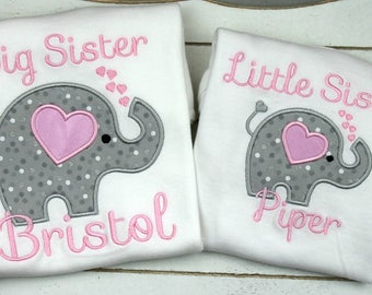 Big Sister Little Sister Outfits -Matching Sister Shirts - Big Sister Shirt - Elephant - Little Sister Outfit - Monogrammed Sister Clothes