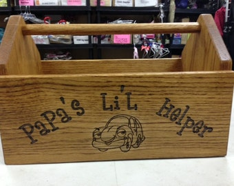 Wooden toolbox, tool box, children's helper, engraved oak
