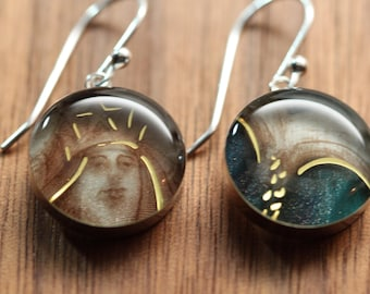 Mermaid tail earrings with sterling silver and resin. Made from recycled, upcycled Starbucks gift cards.