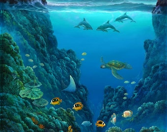 Robert Thomas Giclee -Hawaiian Dolphin Hideaway - Green Sea Turtle - Honu Dolphin Swimming