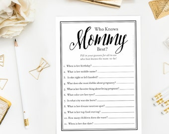Who Knows Mommy Best Black and White Baby Shower Game, Simple Printable Instant Download for Baby Girl Boy, How Well Do You Know Mom Quiz
