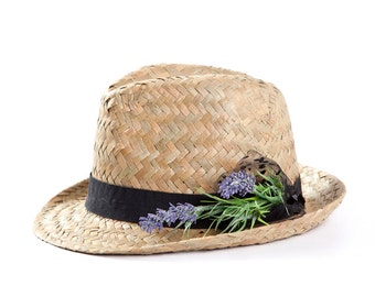 Fedora hat , Straw hat , Sun hat , Womens hat with a lavender decoration.