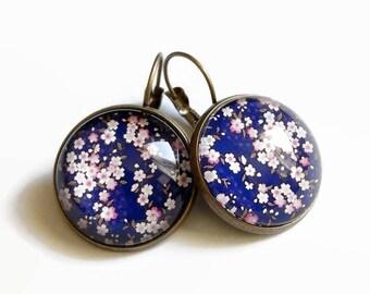 Stud Earrings, blue and pink sakura pink japanese cherry blossom glass flowers