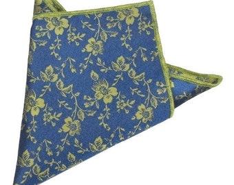 Blue/Green Floral Pocket Square | floral handkerchief | floral wedding | mens handkerchief| wedding ideas | rose pocket square