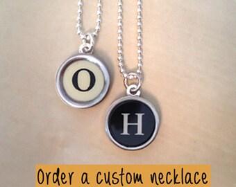 Custom typewriter key jewelry necklace! Personalized Jewelry.  NO GLUE.  Charm necklace.
