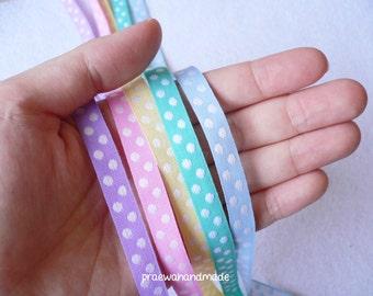 5, 10, 18 or 36 yards embroided polka dot ribbon.