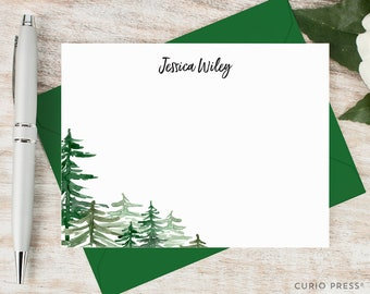 Personalized Stationary Set / Flat Rustic Watercolor Personalized Card / Stationery Note Card Set / trees nature simple // FOREST