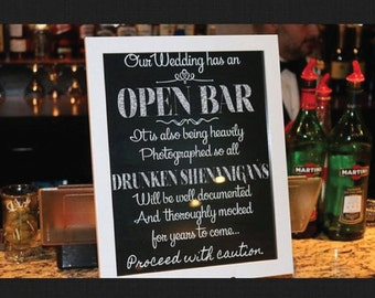 Open Bar sign - 5 digital Wedding reception sign, printable wedding bar reception sign, sign wedding decor