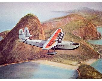 "Vintage 1977 aviation Print -""Brazilian Clipper 1934"""