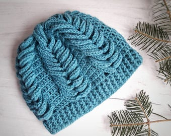 Teal hand knit beanie, sea green cable beanie hat, wool knitted hat, teal cable hat, winter accesory, chunky teal wool hand knit beanie hat
